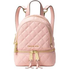 Michael Michael Kors Rhea Zip Mini Messenger Backpack (260 BAM) ❤ liked on Polyvore featuring bags, backpacks, accessories, backpack, michael kors, blossom, flower backpack, pink bag, zip bag and messenger backpack