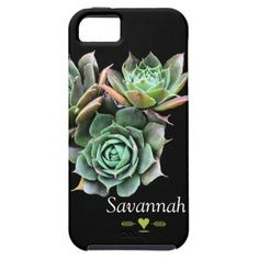 Floral Succulent on Black iphone 5 case