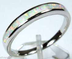 Quality White Fire Opal Inlay Solid 925 Sterling Silver Band Ring Size 6 7 8 9   eBay