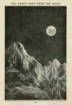 The Earth Seen From The Moon 1932 astronomy by VintageInclination, $21.50