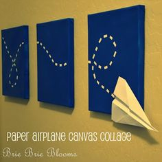 paper airplane on canvas, could work with footprints or maybe a little sailing boat.