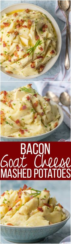 Every Thanksgiving table needs BACON GOAT CHEESE MASHED POTATOES! These are our favorite mashed potatoes and are always a crowd pleaser. So creamy, flavorful, and delicious. THE BEST cheesy mashed potato recipe! via @beckygallhardin