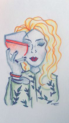 Girl With Wine - 1st Sketch