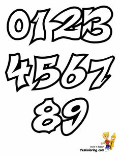 Graffiti throw up graffiti coloring pages free alphabet coloring - Numbers Font Graffiti Font Numbers Floral Pinterest