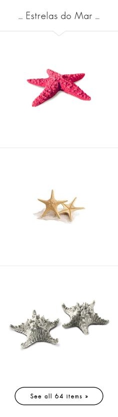 """""""... Estrelas do Mar ..."""" by marciahofmant ❤ liked on Polyvore featuring fillers, mermaid, beach, sea, starfish, fish, shells, animals, backgrounds and seashells"""