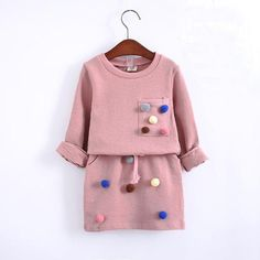Winter girls long sleeve shirt with ball pencil skirt pink and blue color fashion clothes