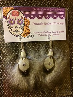 Striking, Black & White Feather Earrings with Swarovski crystals! Feather Jewelry, Feather Earrings, Virtual Garage Sale, Swap Shop, Hill Park, Beacon Hill, White Feathers, Peacocks, Cruelty Free