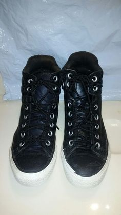 25d85f283444a0 Rare Black Leather Spike Converse All Star Chuck Taylor High Tops Unisex W7  M5  fashion