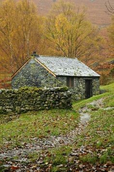 Cabins And Cottages: Autumn Cottage by fen-snapz - next to Ashness Brid. - Cabins And Cottages: Cabins And Cottages: Autumn Cottage by fen-snapz -… - Stone Cottages, Cabins And Cottages, Stone Houses, Cute Cottage, Cottage Style, Irish Cottage, Witch Cottage, Cottages Anglais, Beautiful Homes