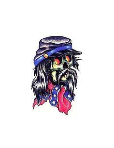 Skull With Black Hair Cap And Confederate Flag Tattoo | Tony's ...