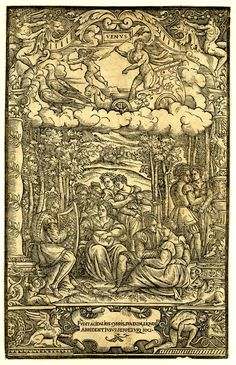 Venus in her dove-drawn chariot holds an arrow in her right hand, Cupid before her, below a musical troupe, one playing a harp, another a lute, pairs of lovers are to the right  Woodcut
