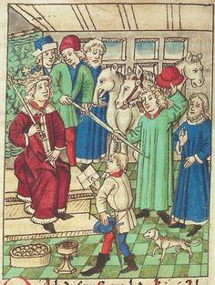 Titel:Buch der BeispieleDetail/Element:Der Pläneschmied zerschlägt das Honiggefäß; (Kapitel VII: Von dem Einsiedler).Künstler/Urheber:Antonius.1480-1490.