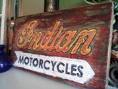 Handpainted Vintage Indian Motorcycle Sign