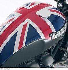 Triumph Bonneville Union Jack flag gas tank cover.
