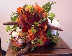 Fall Bridal Bouquet    Appleton Wedding Flowers, Bridesmaid Bouquet, hypericum berries, celosia, mini calla lily, dahlias, freesia, roses, rover mums