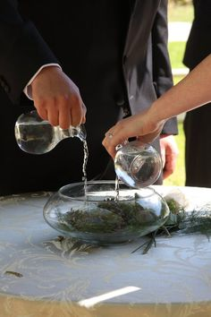 A lovely water ceremony is a great alternative to a sand ceremony or the traditional unity candle.