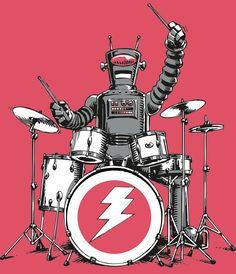 Robot drummer for Headline T-shirts Drum Drawing, Drums Art, Work In New York, Fan Art, Victoria And Albert Museum, Book Activities, Cover Art, Pose, Character Design