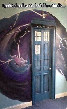 Doctor Who closet, complete with time vortex. If I do this, will it make my closet bigger on the inside? I could use a walk-in closet with a library and a pool.