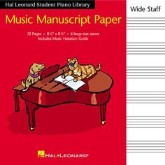 Hal Leonard Student Piano Library Music Manuscript Paper - Wide Staff by Hal Leonard Corp.
