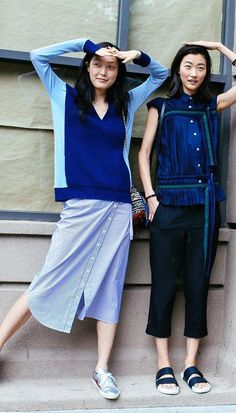 Sung Hee Kim in Isabel Marant shoes and Ji Hye Park in Sacai