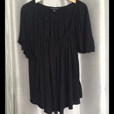 Listing! Banana Republic Black Pleated Top Banana Republic black pleated loose fitting top with v neck and flutter sleeves. Approximately 26 inches total length and 22 inches armpit to armpit. Material 100% tencel lyocell Banana Republic Tops Tunics