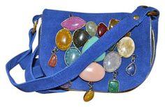 5beb8711f9c Antik Batik New France Stone Embellished Goat Suede Pouch Blue Cross Body  Bag on Sale,