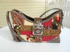 Relic Burgundy and Chocolate Patchwork Purse Shoulder Strap with Top Zipper   Sold