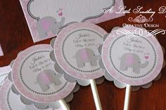 Girl Elephant Cupcake Toppers / Pink Damask Cupcake Toppers with Elephant / Pink and Grey Baby Shower Cupcake Toppers - http://babyshower-cupcake.com/girl-elephant-cupcake-toppers-pink-damask-cupcake-toppers-with-elephant-pink-and-grey-baby-shower-cupcake-toppers/