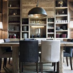sophisticated+industrial dining room - 2 chair colors, metal pendant, unfinished wood