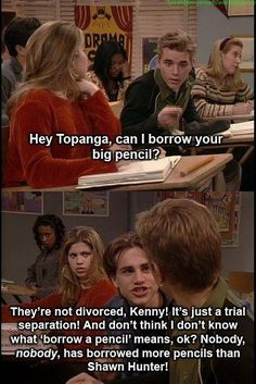 Boy meets world. Love it whenShawn gets all defensive!