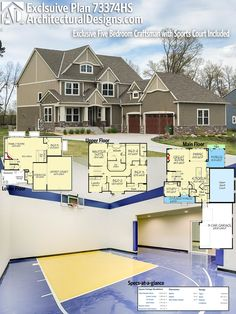 Designed for the large, active family, Architectural Designs Exclusive House Plan 73374HS gives you 5 bedrooms and a sport court and rec room in the finished lower level. The home gives you over 5,000 square feet of heated living space including the lower level. Ready when you are. Where do YOU want to build?