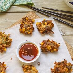 Thai-style sweetcorn fritters with sweet chilli dipping sauce - The Circus Gardener's Kitchen Thai style sweetcorn fritters with sweet chili dipping sauce Sweetcorn Fritters Recipe, Thai Appetizer, Hot Dog Recipes, Asian Recipes, Ethnic Recipes, Asian Foods, Sweet Chilli, Thai Style, Vegetarian Recipes