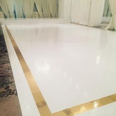 Beautiful crisp white dance floor with gold chrome border and white vinyl stage @melissabaum @westinprincetoronto @eventgraffiti #eventgraffiti #printeddecor
