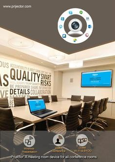 A meeting room device for all conference rooms #conference #meetings #presentations #device #skype #video #OS #apps www.prijector.com