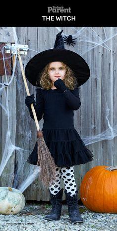 DIY Classic Witch Kids Halloween Costume. #TodaysParent #HalloweenKidsCostume
