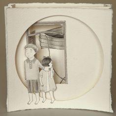 Thais Beltrame / O lugar por Onde Viemos / Nanquim e aquarela sobre assemblage de papel - 2013 - 14 x 14 cm