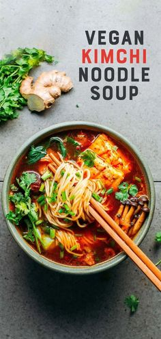 Soup Recipes, Vegetarian Recipes, Healthy Recipes, Vegan Recipes With Kimchi, Vegan Noodles Recipes, Healthy Foods, Free Recipes, Dinner Recipes, Healthy Eating