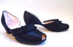 1950s black satin ruffled Daniel Green boudoir slippers, personal collection