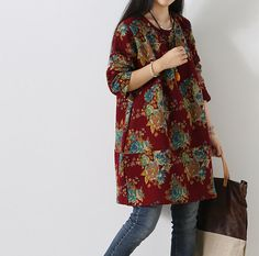 spring pullover cotton dress Lanterns Long sleeved dress by MaLieb