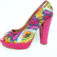 """'Corelli' Colourful Shoes - 4"""" Heel - PL542 - 21.00 AUD - Beautiful 'Corelli' colourful size 7 shoes with 4 ½"""" heel.  Great Condition. - Paypal on checkout! Postage $7.60 Australia Wide. - 3 - 5 business days (Australia) www.prelovedladiesfashion.com #fashion #preloved #shoes #hats #handbags #fashion #preloved #dress #outfit #wedding #facebook #ebay #australia #ladies #races # colourful #pink #pinkshoes"""