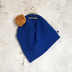 Pom Beanie - Blue/Ocre