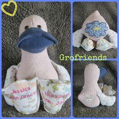 Babygro keepsake duck, handmade in the UK by www.grofriends.co.uk #handmade #keepsake #baby #duck