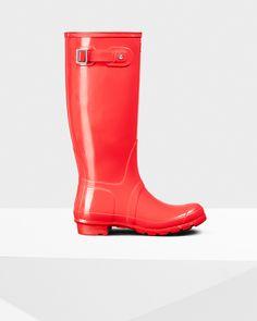 Womens Orange Tall Gloss Rain Boots | Official US Hunter Boots ...