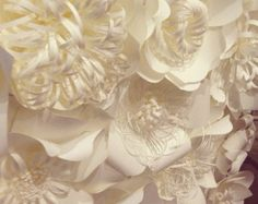 Giant Paper Flower Decoration-White-Table by WPaperFlowerDesign
