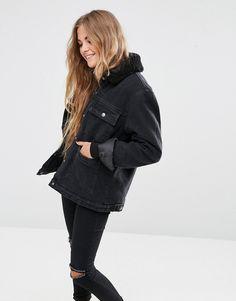 ASOS Denim Borg Jacket in Washed Black with Pockets at asos.com 80699645d73f