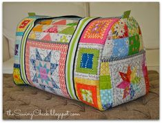 The Sewing Chick: Patchwork Rainbow Duffle Bag