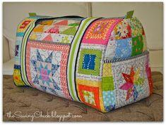 O pintainho Costura: Patchwork arco-íris Duffle Bag