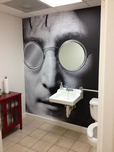 Bold XL print in the bathroom. Lennon wall graphic with mirror lens!