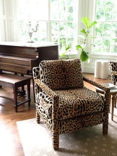As for the fabric, I must have ordered and looked at dozens of samples of leopard fabric but they were either the wrong color, wrong texture or just downright awful. I ended up going with the popular Jamil Natural which you see used a lot and now I understand why. It's no Scalamandre (far from it) but in this price range, it's a good one. I happened to find this source which sells it for 20-30% less than everywhere else.