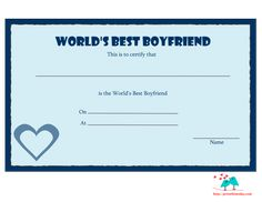 Here are some romantic and free printable love certificates that you can give to your boyfriend to tell him that he is the best boyfriend in the whole world. Birthday Certificate, Christmas Gift Certificate Template, Free Certificate Templates, Birthday Gifts For Boyfriend Diy, Bff Birthday Gift, Funny Certificates, Love Cards For Him, Award Template, Funny Valentines Cards